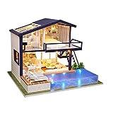WMZQW Kit de casa de muñecas de Madera DIY Dollhouse, Casas De Muñecas con Muebles Luz LED Y Música, Niñas Niños Vacaciones Regalos de cumpleaños(sin Cubierta Antipolvo)