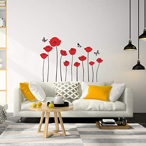 Wandtattoo Blumen Mohnblumen, Rot