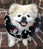Made In USA Puppy Bumpers 100% Cotton Stuffed Safety Fence Collar to Keep your Pet Safe on the Right Side of the Fence- Jolly Roger - Fits Up to 10'