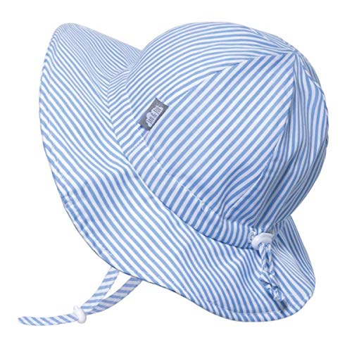 JAN & JUL Newborn Boy Beach Sun-Hat for Baby, Adjustable Strap (S: 0-6 Months, Blue Stripes)