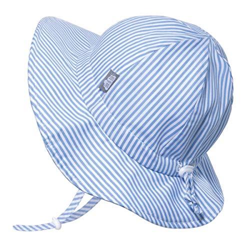 JAN & JUL UPF 50+ Cotton Sun-hat for Kids, Boys Girls for Summer (L: 2-5 Years, Blue Stripes)