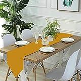 Jack16 Pares de color dorado mostaza con auric Gold Camino de mesa de lino, casa de granja, fiestas, decoración de vacaciones, para cocina, comedor, café, 30,7 x 70 cm