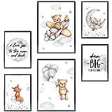 Frechdax® Kinder Poster Set | Wandbilder als Kinderzimmer Deko | 2 x DIN A3 & 4 x DIN A4 - ca. 30x42 & 21x30 | ohne Bilderrahmen (» Dream Big, Mond, Bär, Baby «)