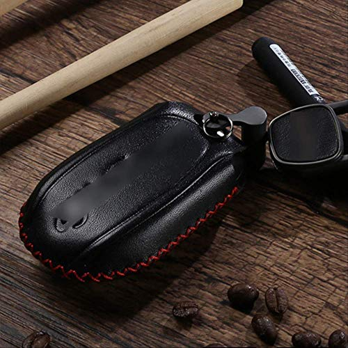 AHUIAI Sleutelschaal Lederen Auto Afstandsbediening Smart Key Case Cover Voor Shell Sleutelhanger Fit Voor Alfa Romeo Zwart