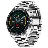 LIGE Smart Watch,Pantalla Táctil De 1,3 Pulgadas,IP67 Impermeabile,Reloj De Fitness para Hombres,Correa De Acero Inoxidable para Android iOS Plata