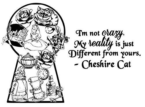 Etiqueta de la pared de Alicia en el país de las maravillas Cita del gato de Cheshire Etiqueta de la pared Tatuajes de pared Niños