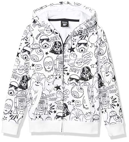 Spotted Zebra Boys' Kids Disney Marvel Fleece Zip-Up Sweatshirt Hoodies, Star Wars Doodle, Small