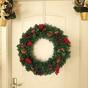 ZXPAG Christmas Wreaths for Front Door Christmas Wreaths for Grave Pre Lit Christmas Wreaths for Front Door Door Wall Hanging Ornaments for Front Door Wall Window Party Décor