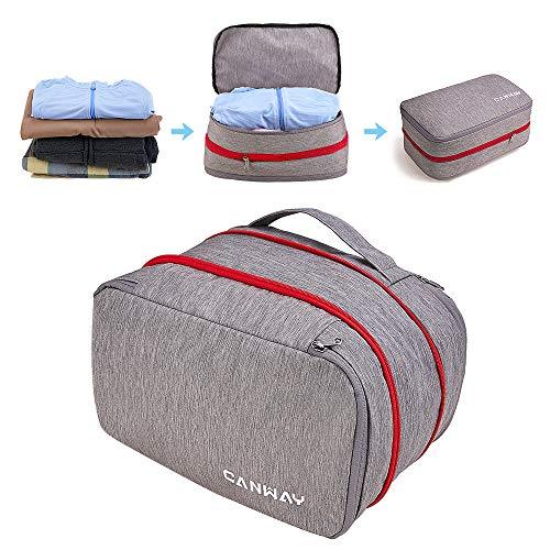 CANWAY Komprimierbar Kofferorganizer Packtasche Packsäcke Packing Cube Kleidertasche Packwürfel mit Kompression für Rucksack & Koffer Geschäftsreise Sport Camping Reise Wandern Unisex (Grau 15L)