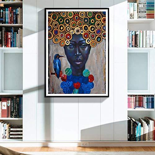Afrikanerin Porträt Gemälde, Schön Bunten Kunstdruck Leinwand Malerei Wanddekoration Kreative Inkjet Bild,No frame,70x90cm