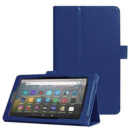 Kindle Fire 7 Case, Amazon Fire Tablet 7 Case(9th/7th Gen, 2019/2017 Release), FANSONG[with Pen Holder] Auto Sleep/Wake Bifold Litchi Leather Kids Protective Cover Case for Fire 7 Tablet (Navy)