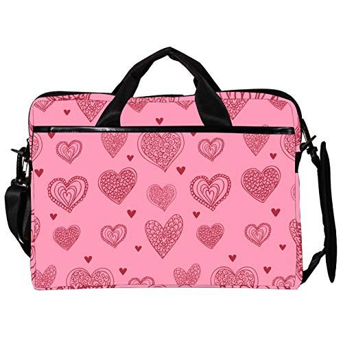 Unisex Computer Tablet Satchel Bag,Lightweight Laptop Bag,Canvas Travel Bag,13.4-14.5Inch with Buckles Retro Pink Love Hear