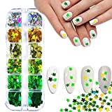 Lucky Clover Nail Art Glitter Sequins Set of 6 Colors Holographic Four Leaf Clover Nail Confetti 3D Laser Clover Shape Nail Decals Flakes Nail Accessory for Nail Art Decor St. Patrick's Day