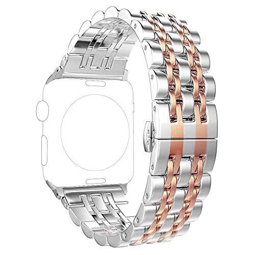 PUGO TOP Cinturino compatibile per Apple Watch, in acciaio inossidabile 316L con design classico 7 lame e chiusura a farfalla per iWatch Serie 4 3 2 1, Rose Gold, 42mm/44mm