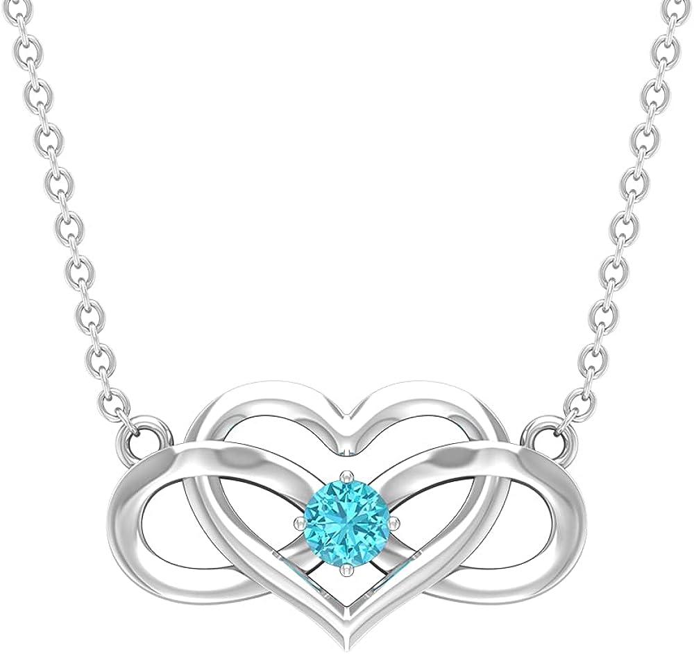 Heart Infinity Pendant Necklace with Swiss Blue Topaz (3 MM Round Cut Swiss Blue Topaz)