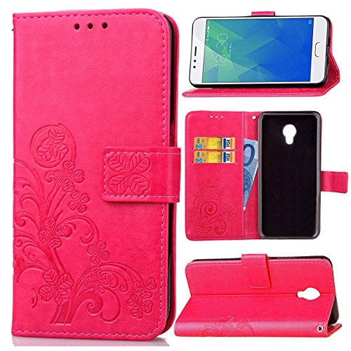 Guran® Custodia in Pu Pelle Lucky Clover Flip Cover per Meizu M5S Smartphone Avere Portafoglio e Funzione Stent Modello di...