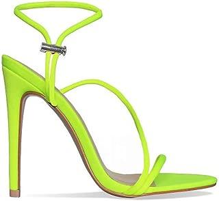 Womens Sandals Stiletto Heel,Strappy Toggle Heels Ankle Strap Stilettos Open Toe Fashion Summer Shoes NEON Orange Color