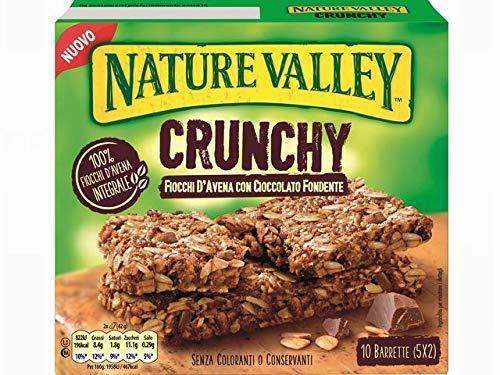 Nature Valley Barrette Fiocchi d'Avena Integrale e Cioccolato Fondente Senza Coloranti e Conservanti e Senza Lattosio Adatte ai Vegetariani - 1 x 210 Gram (10 barrette)