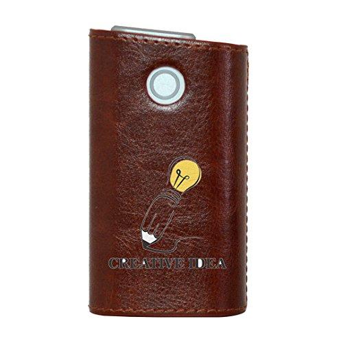 glo グロー グロウ 専用 レザーケース レザーカバー タバコ ケース カバー 合皮 ハードケース カバー 収納 デザイン 革 皮 BROWN ブラウン 英語 文字 013780