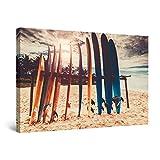 Startonight Cuadro Moderno en Lienzo - Soporte de Tablas de Surf en la Playa - Pintura Paisaje para Salon Decoración Grande 80 x 120 cm