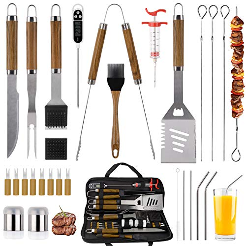 SixSun 30PCS BBQ Grill Tools Set Wooden Handle Stainless Steel Grilling Accessories with Spatula Tongs Skewers for Barbecue Camping Kitchen Complete Premium Grill Utensils Set - Brown