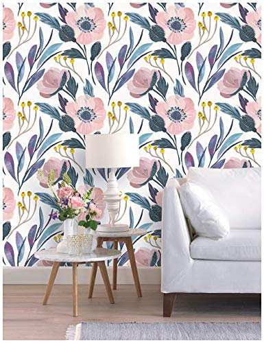 HaokHome 93019-1 Watercolor Peony Floral Peel and Stick Wallpaper Removable Multi-Color Vinyl Self Adhesive Decorative 17.7'x 9.8ft