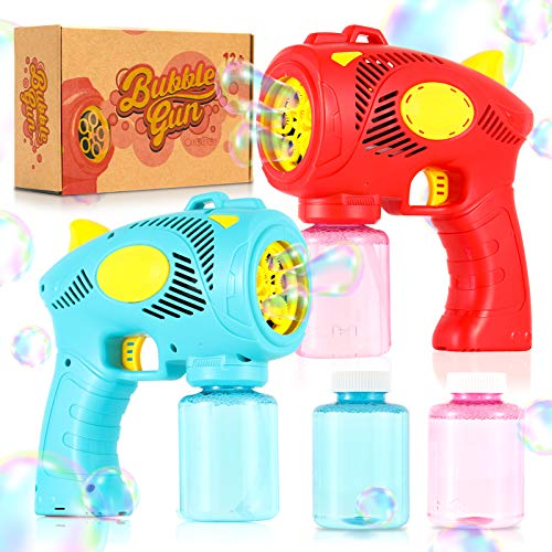 Bubble Guns for Kids with Rich Bubbles, 2 Pack Easy to Use Toddlers Bubble...