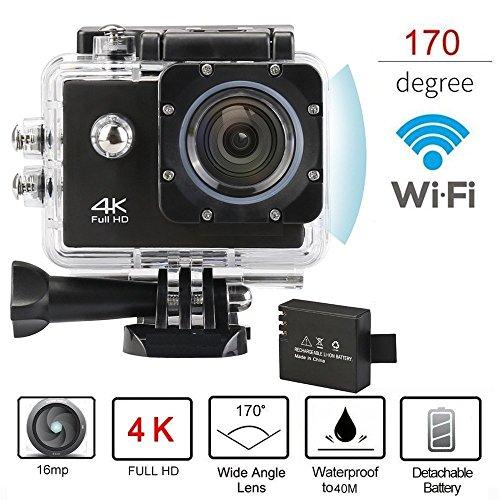 Brotherhood Ultra HD 4k WiFi Helmet Waterproof Sport Action Camera As Go Professional Underwater Camcorder + HDMI Output + [ Free Accessories for GoPro Cam | SJCAM | Eken H9] Black
