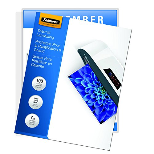 Fellowes Laminating Pouches, Thermal, Letter Size, 7 Mil, 100 Pack (52041),Clear