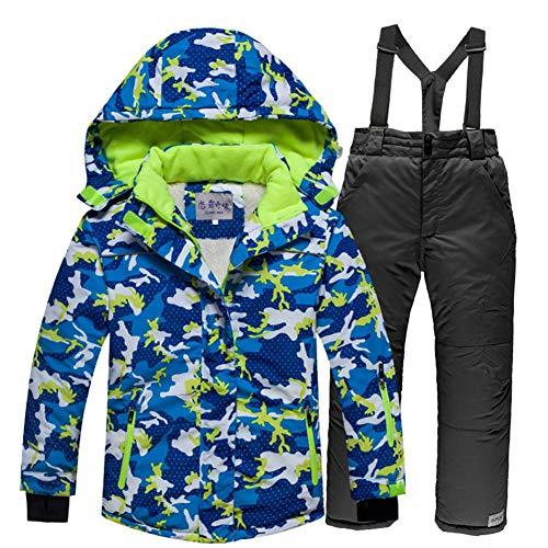 LSERVER Kinder Skianzug Set dicken zweiteiligen Skijacke + Skihose, Blaues Camouflage Top + Schwarze Hose, 110/118