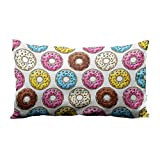 Yeuss Pillow Case Donuts with Pink, Chocolate, Lemon, Blue Mint Glaze On White Bk Donut Cushion...