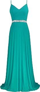 Coco Women's V-Neckline Spaghetti Straps Beaded Criss-Cross Open Back Tulle Evening Prom Formal Dress