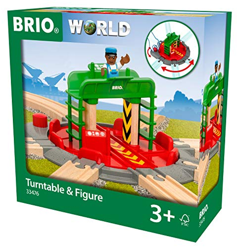 BRIO World - Turntable & Figure Wooden Train Track for Kids Age 3 Years and Up, Compatible with All BRIO Train Sets