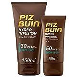 Piz Buin, Protección Solar Hydro Infusion Crema Solar en Gel SPF 30, 150 ml + Crema Solar Facial en Gel SPF 50, 50 ml