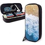 Waves and Beach Cute Pen Estuche para lápices Cuero Gran capacidad Cremalleras dobles Bolsa para lápices Bolsa Estuche para lápices 20cm * 9cm * 4cm