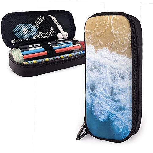 Wellen und Strand Nette Stift Federmäppchen Leder Große Kapazität Doppelreißverschlüsse Bleistiftbeutel Stifthalter Box 20 cm * 9 cm * 4 cm
