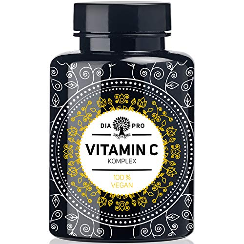 DiaPro® Natürliches Vitamin C Komplex 420 mg Tagesdosis 240 Kapseln hochdosiert aus Acerola Camu Camu und Hagebutte Extrakt für 4 Monate 210 mg reines Vitamin C pro veganer Kapsel laborgeprüft