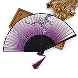 JIAWEIDAMAI - Abanico de mano plegable de tela de bambú para decoración de caja de boda