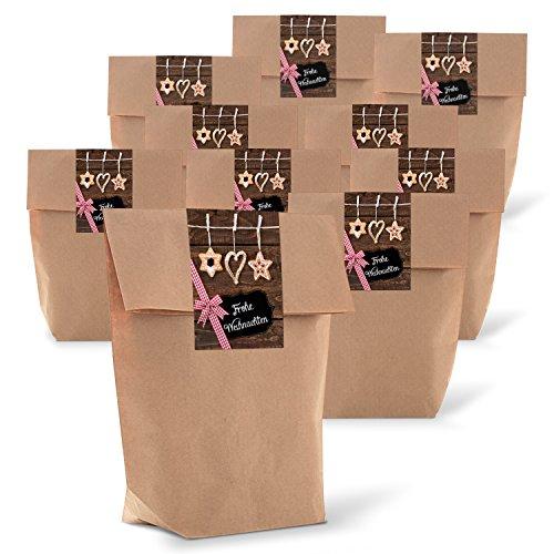 25 Stück Geschenktüte Frohe Weihnachten Verpackung Geschenke Beutel Papiertüte Papierbeutel 14 x 22 x 5,6 cm Kraftpapier rot weiß braun give-away Kunden Mitarbeiter