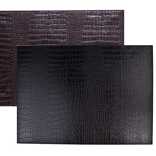 SIGNATURE HOME COLLECTION AP-104-A03 Lot de 6 Sets de Table réversibles et faciles d'entretien en Cuir Imitation Crocodile Noir/Brun foncé 45 x 33 cm Hauteur 0,5 cm