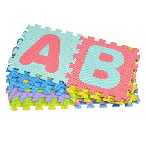 VOSAREA Estera de Juego de Rompecabezas de Espuma para Niños Que Se Entrelazan con Azulejos de Piso de EVA Estera de Rompecabezas de Alfabeto (Color Al Azar)