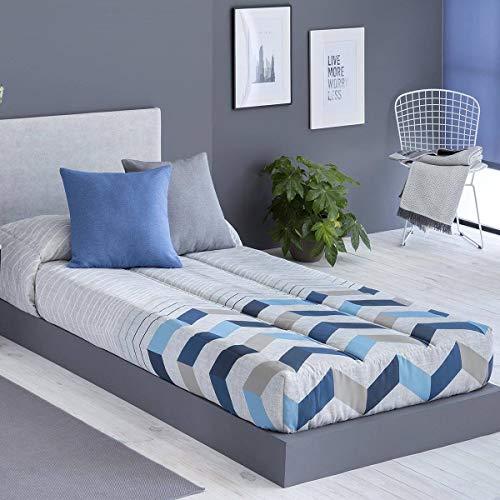 Confecciones Paula - Edredón Ajustable SOLLER - Cama 90 Cm - Color Azul