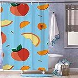 unknow Duschvorhang, 130 x 180 cm, Äpfel, resistent gegen Schmutz, passend für Badezimmer, stilvoll für die Dekoration