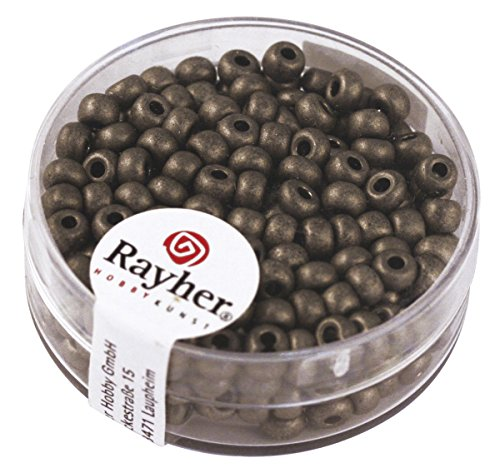 Rayher 17g Metallic-Rocailles, matt, Farbe: 572-anthrazit, ø 4mm