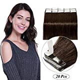 24'(60cm) Extensiones Adhesivas de Cabello Natural Pelo 100% Remy Liso Largo Invisble Tape in Hair Extensions 20 Unidades(50g,#2 Marrón Oscuro)