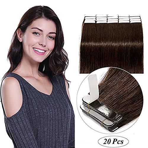 SEGO Bande Adhesive Extension Naturel Tape In Remy Hair - 30CM 02#Châtain Foncé 20 PCS 40g (2g/Pièces) - Extensions Adhésif Vrai Cheveux a Froid Invisible
