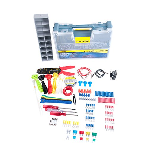 Calterm 05207 Automotive Electrical Repair Kit, 399 Pc Kit: Cable Ties, Tape, Phillips/Flat Head Screw Driver, Terminals, Tester/Probes/Alligator Lead, Wire, Stripper/Crimper, Connectors, 5-20A Fuse