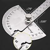 14.5cm 180 grados transportador ajustable multifunción regla de ángulo de punta redonda de acero inoxidable herramienta de medición matemática ruler