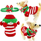 Adorable Cute Striped Festive Holiday Christmas Pet Dog Cat Sweater with Balls Collar and Adjustable Bow Tie Collar or Headband (XXS, Red and White Stripes)