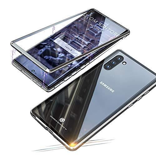 Jonwelsy Funda para Samsung Galaxy Note 10 (6,3 Pulgada), Fuerte Tecnología de Adsorción Magnética Metal Bumper, Cubierta Trasera de Transparente Vidrio Templado Ultra Delgado Case Cover (Plat